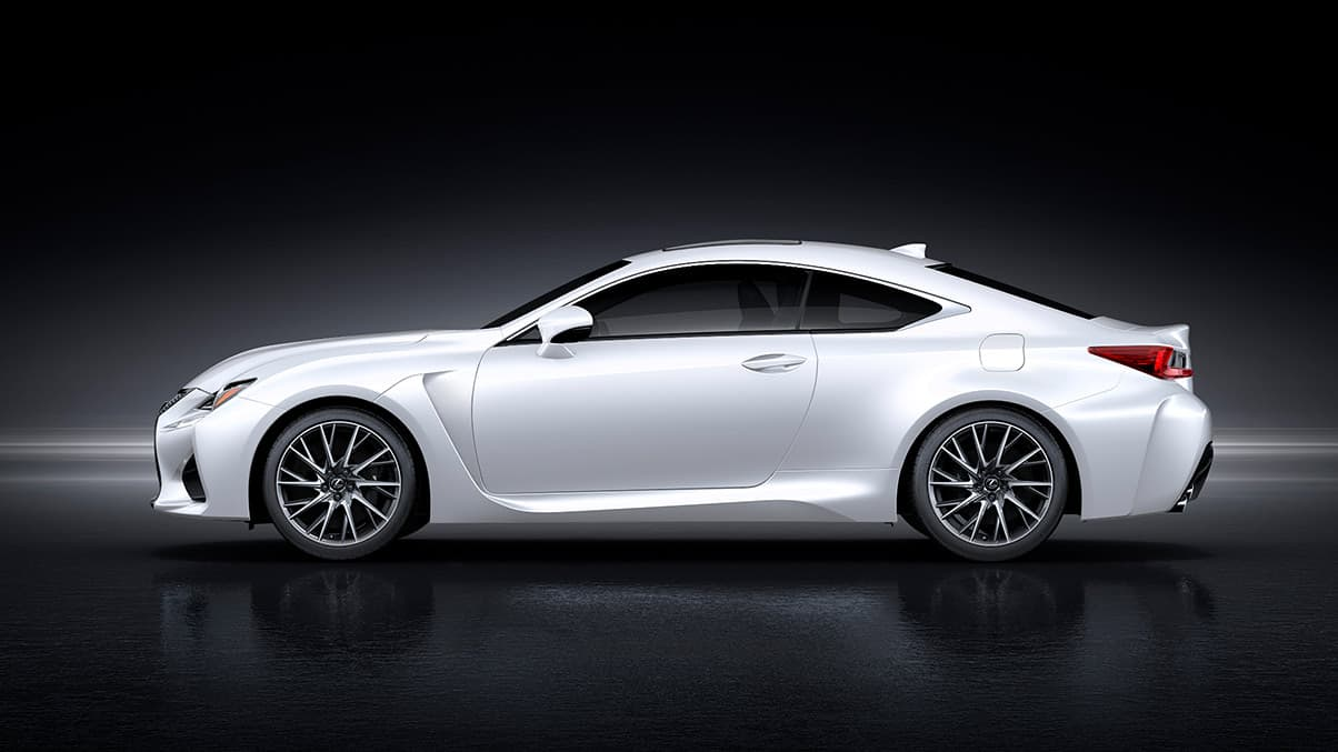 Exterior shot of the 2019 Lexus RC F shown in Ultra White.