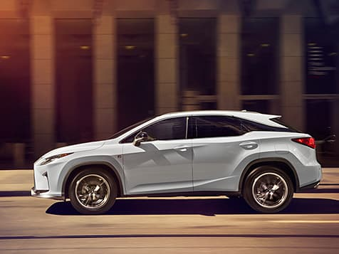 Exterior shot of the 2019 Lexus RX F SPORT shown in Ultra White.