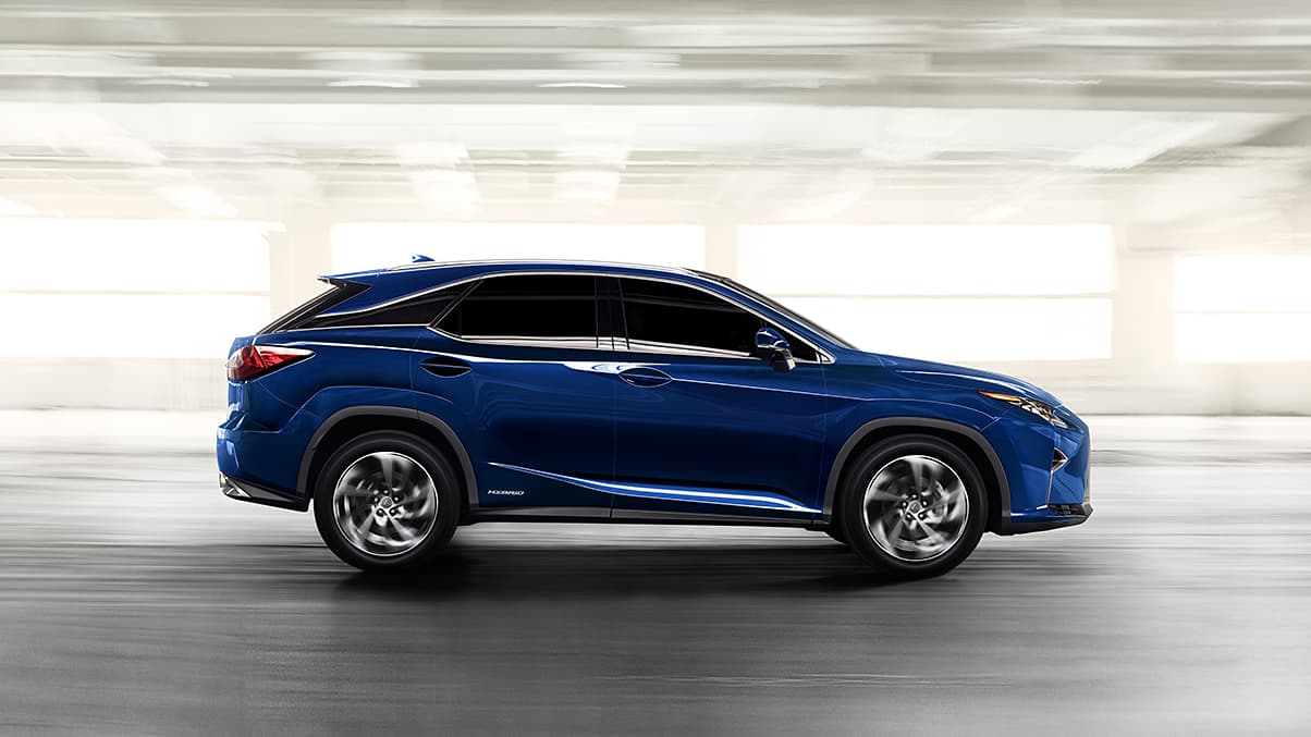 Exterior shot of the 2019 Lexus RX 450h shown in Nightfall Mica.