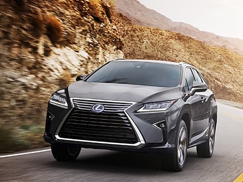 Exterior shot of the 2019 Lexus RXL shown in Nebula Gray Pearl.