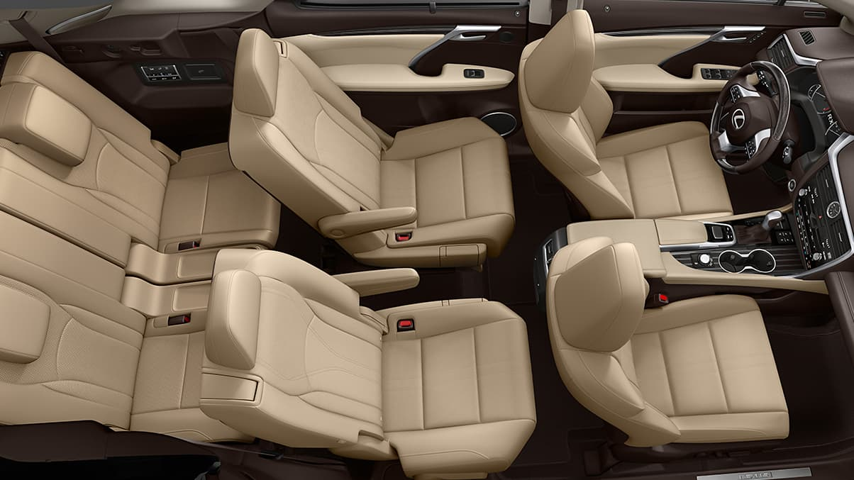 2019 Lexus RXL cabin and interior detail from above. Power-folding, parchment leather seats provide space for up to seven passengers.