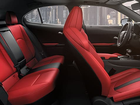 2019 Lexus UX F SPORT with Circuit Red NuLuxe® interior trim.