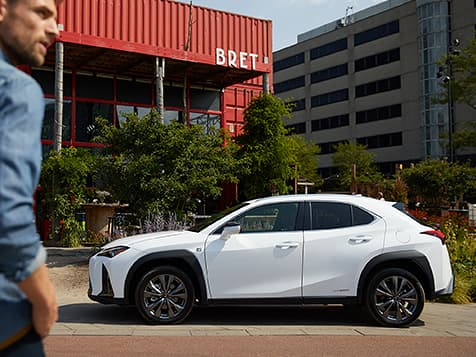 2019 Lexus UX F SPORT exterior shown in Ultra White.