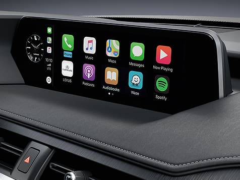 Interior shot of the 2019 Lexus UX shown with Apple CarPlay integration.