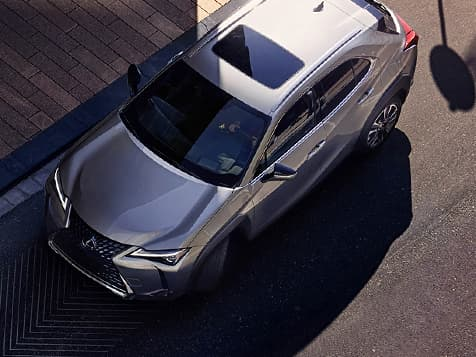 Exterior shot of the 2019 Lexus UX shown in Atomic Silver.