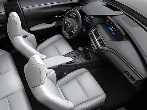 Interior shot of the 2019 Lexus UX shown with Birch NuLuxe® interior trim.