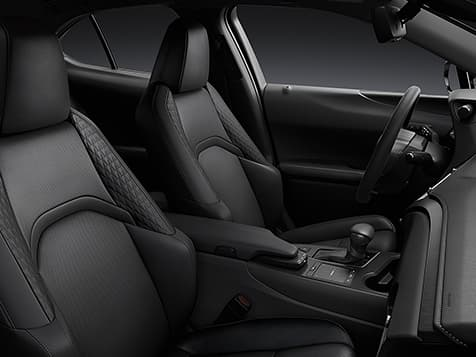 Interior shot of the 2019 Lexus UX shown with Black NuLuxe® interior trim.