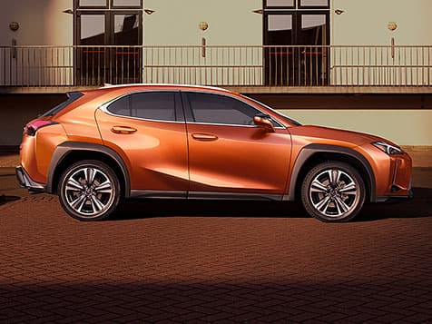 Exterior shot of the 2019 Lexus UX shown in Cadmium Orange.