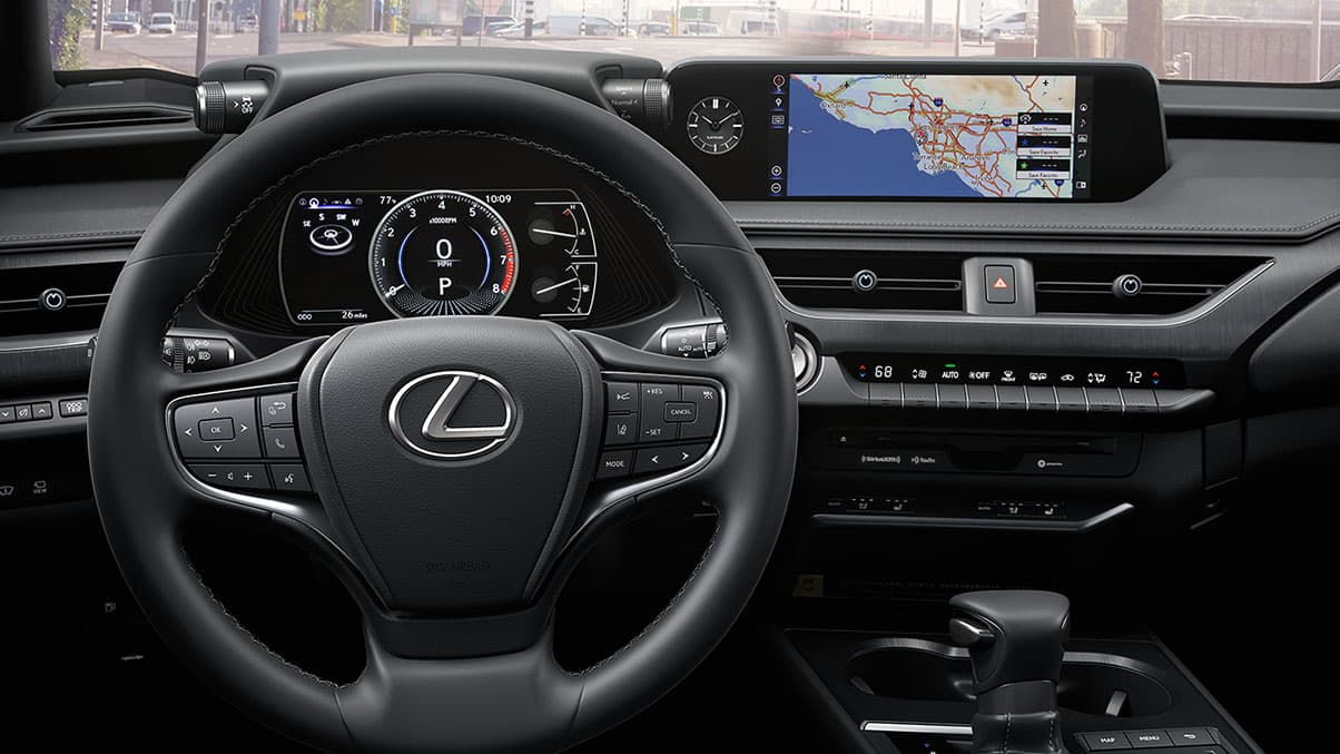 Interior shot of the 2019 Lexus UX shown with Driver-inspired cockpit.