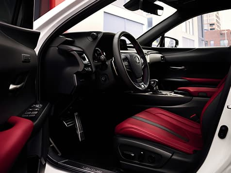 2019 Lexus UX F SPORT interior shown with Circuit Red NuLuxe®.