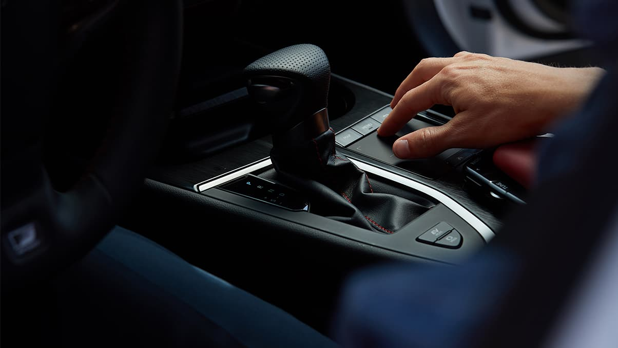 2019 Lexus UX F SPORT perforated leather-trimmed shift knob and Remote Touchpad.
