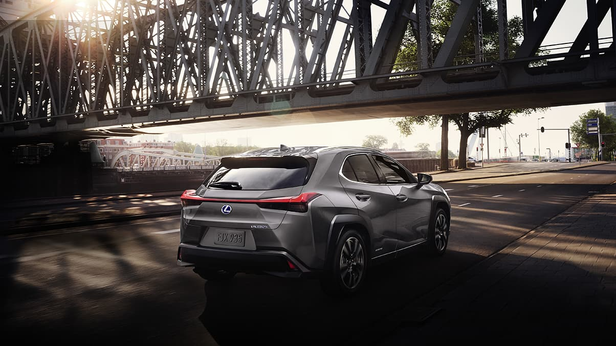 Exterior shot of the 2019 Lexus UX Hybrid shown in Atomic Silver.