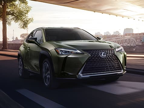 Exterior shot of the 2019 Lexus UX shown in Nori Green Pearl.