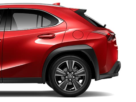 Exterior shot of the 2019 Lexus UX shown in Redline.