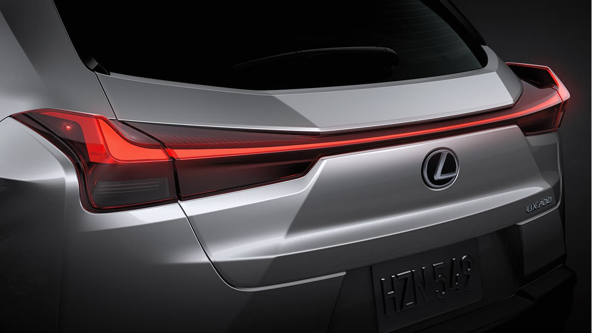 Exterior shot of the 2019 Lexus UX shown in Silver Lining Metallic.