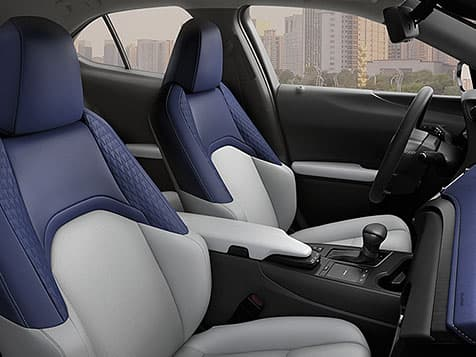 2019 Lexus UX Hybrid shown with Birch/Lapis NuLuxe® interior trim.