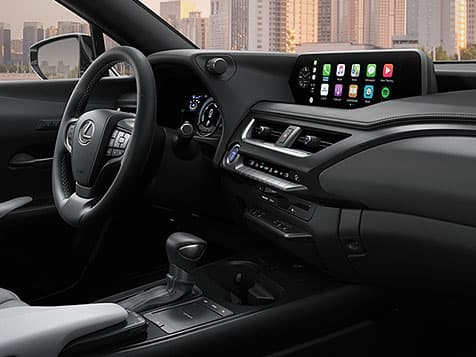 Interior shot of the 2019 Lexus UX Hybrid shown with Birch NuLuxe® interior trim.