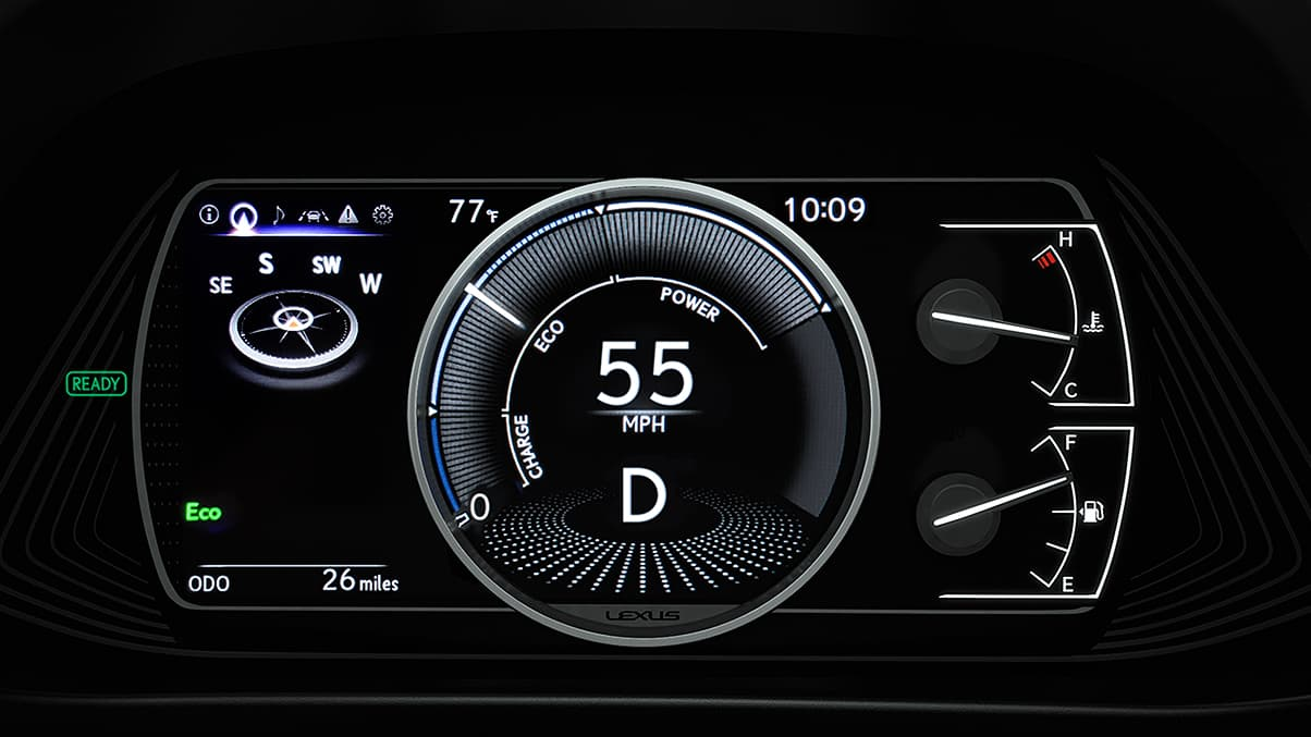 Interior shot of the 2019 Lexus UX Hybrid digital gauges with 7-inch multi-information display.