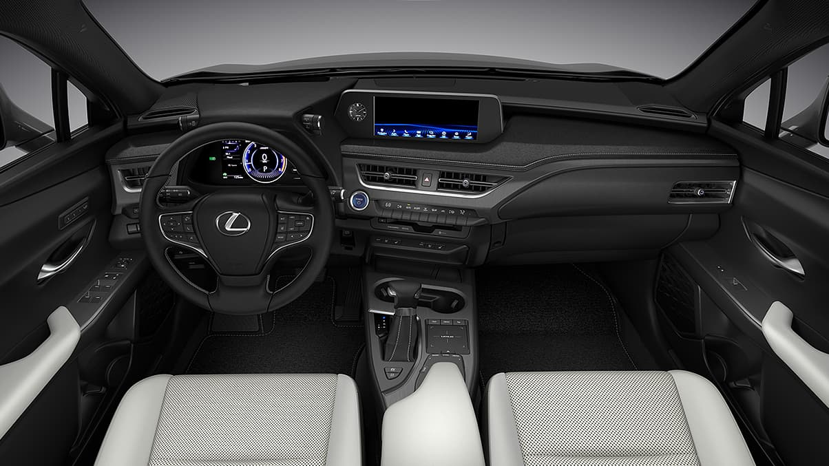 Interior shot of the 2019 Lexus UX Hybrid driver-inspired cockpit.