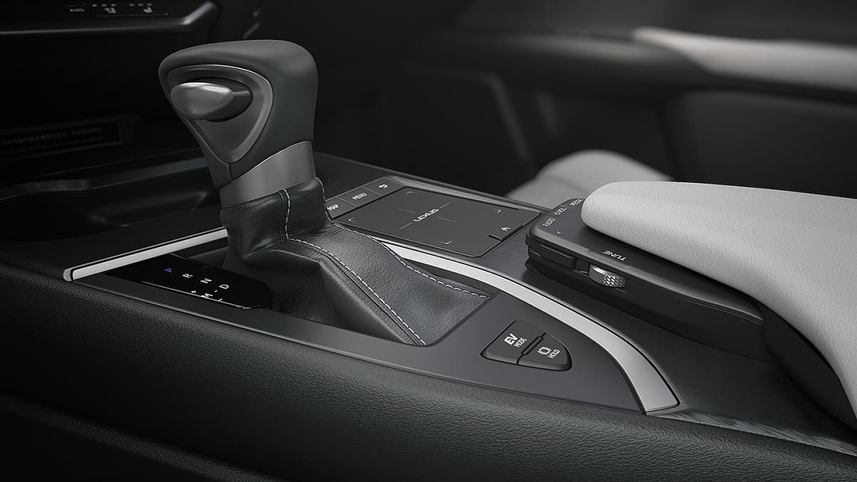 Interior shot of the 2019 Lexus UX Hybrid leather-trimmed shift knob.