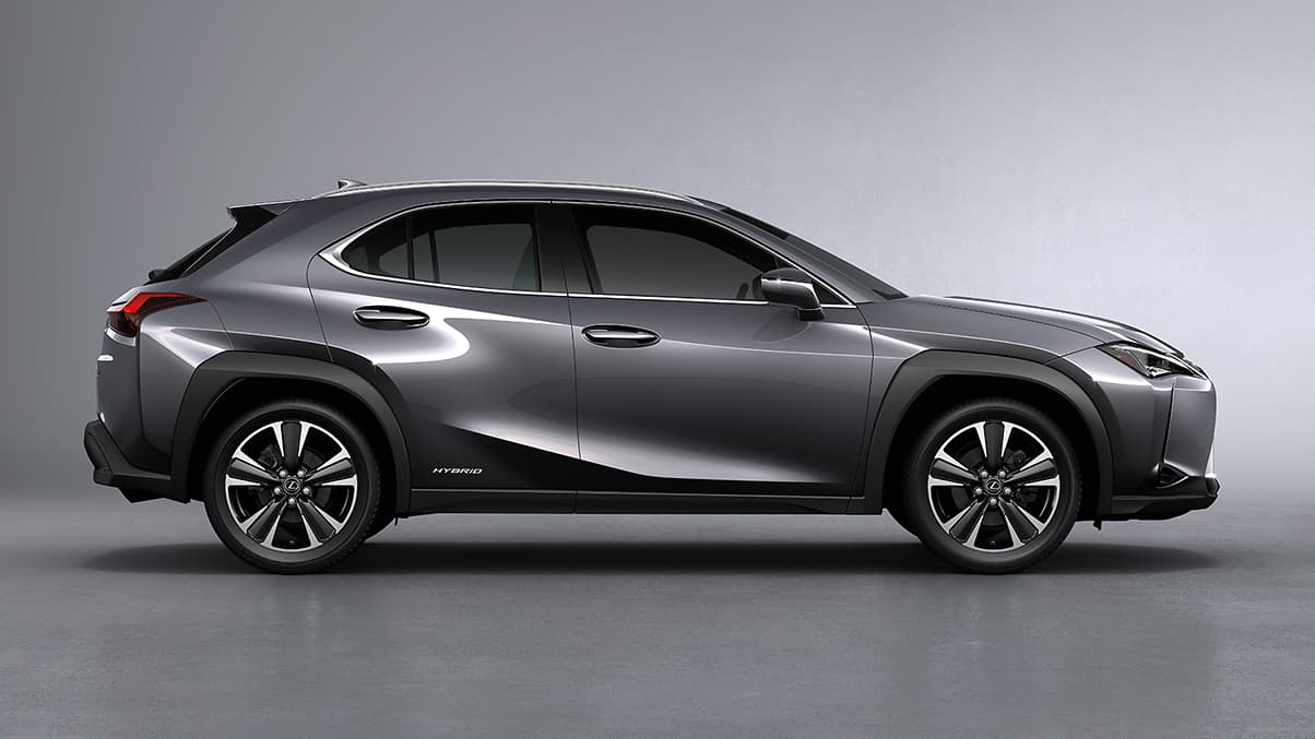 Exterior shot of the 2019 Lexus UX Hybrid shown in Nebula Gray Pearl.