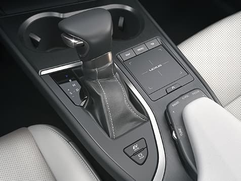 Center-console audio controls and remote touchpad.