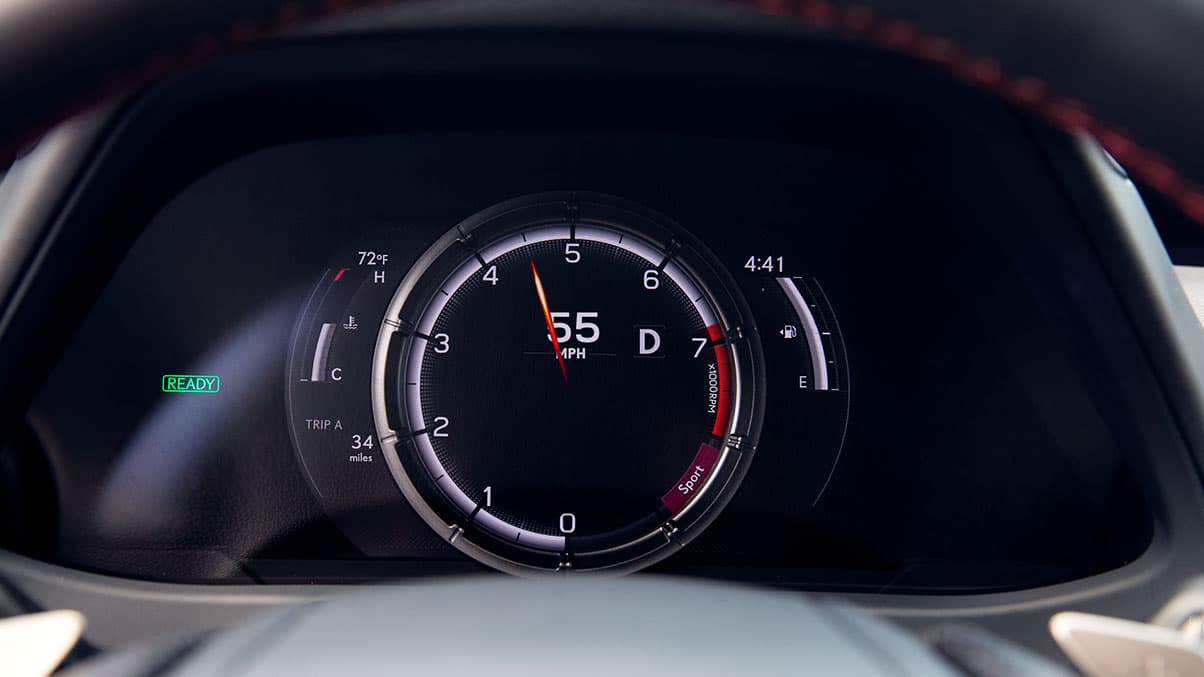 2019 Lexus UX F SPORT F Performance digital gauges with moving dial and 8.0-inch multi-information display.