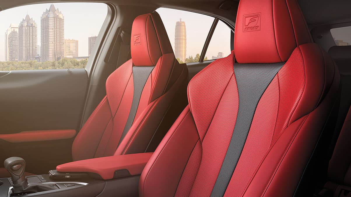 2019 Lexus UX F SPORT bolstered seats shown with Circuit Red NuLuxe® interior trim.