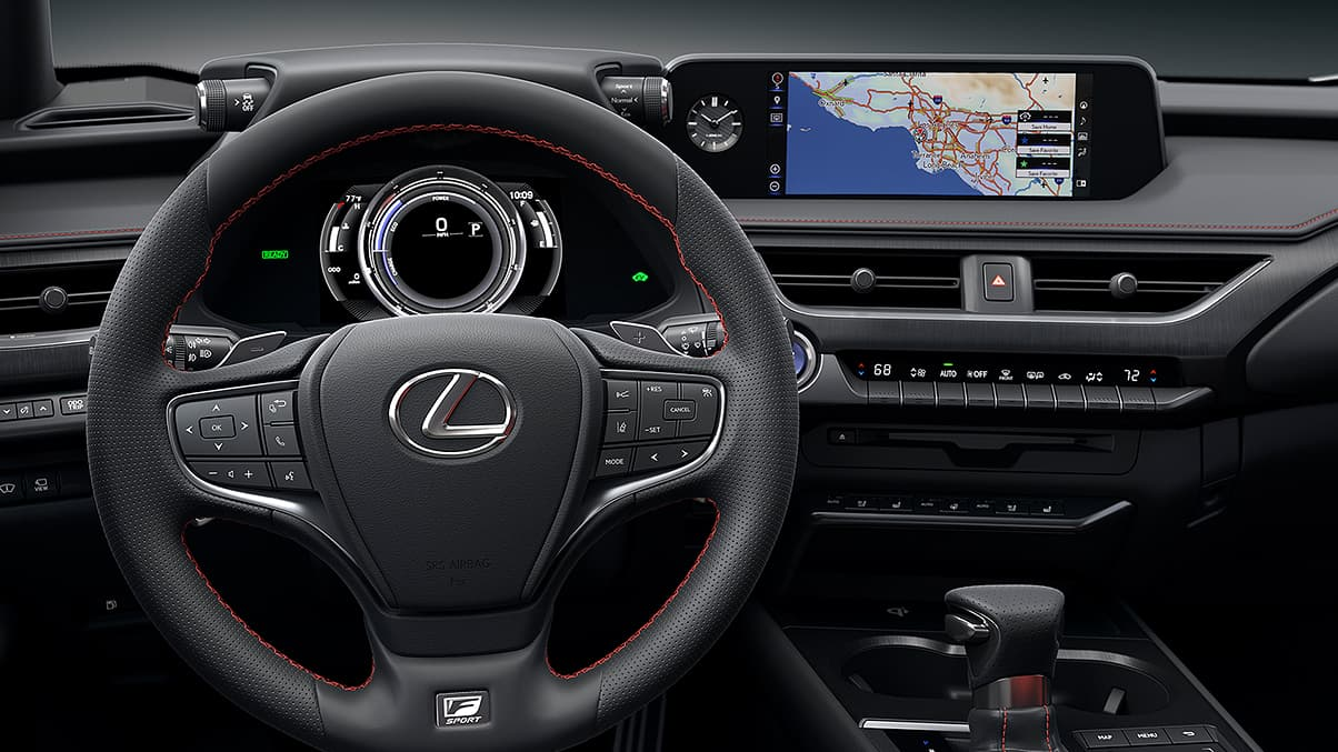 2019 Lexus UX F SPORT interior shown with Perforated leather-trimmed F SPORT steering wheel.