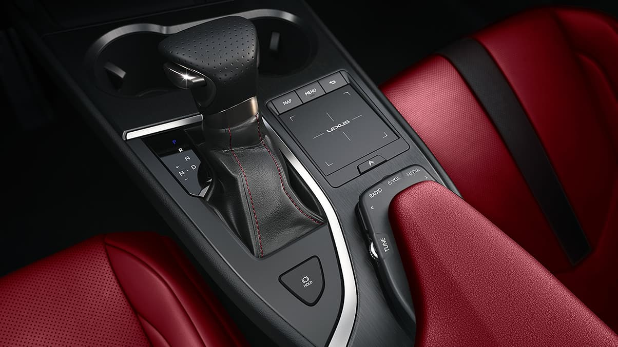 2019 Lexus UX F SPORT center-console audio controls and Remote Touchpad.