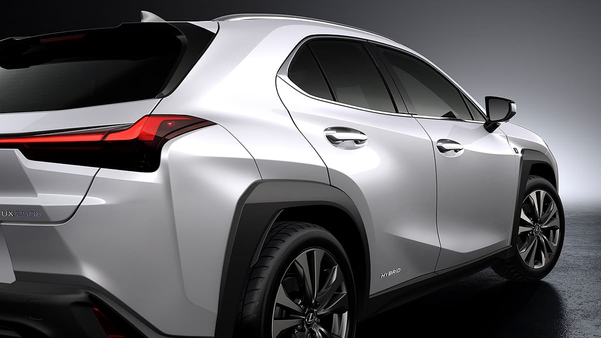 2019 Lexus UX F SPORT exterior shown in Silver Lining Metallic.