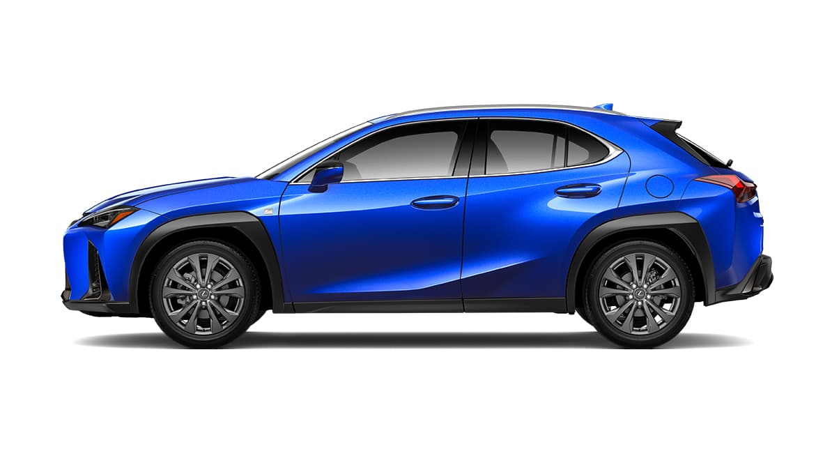 2019 Lexus UX F SPORT exterior shown in available Ultrasonic Blue Mica 2.0.