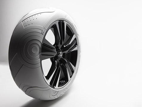 LEXUS x JOHN ELLIOTT concept tires inspired by the iconic JOHN ELLIOTT x NIKE AF1 sneaker.
