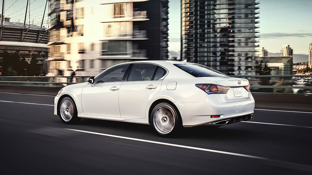 Lexus GS shown in Eminent White Pearl.