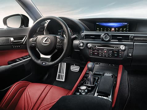 Interior of the Lexus GS F shown with Circuit Red leather trim.