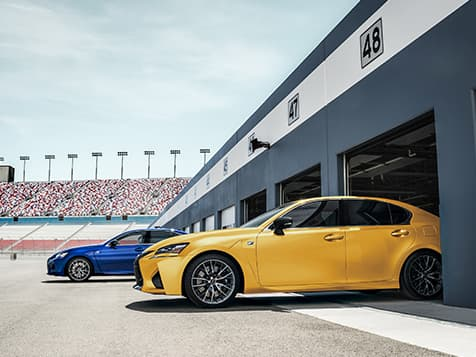 Lexus GS F shown in Ultrasonic Blue Mica 2.0 and Flare Yellow.
