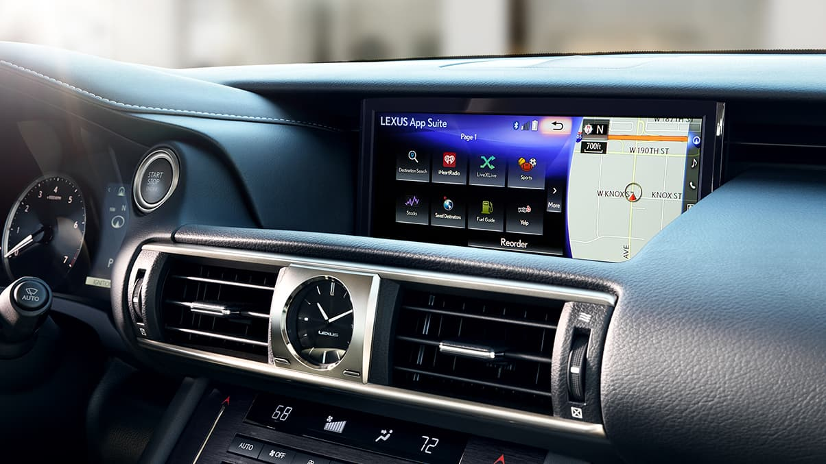 Interior of the Lexus IS showing the available 10.3-inch high-resolution split-screen multimedia display.