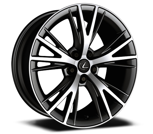 20-inch split-10-spoke cast alloy Dark Silver wheels with machined finish.