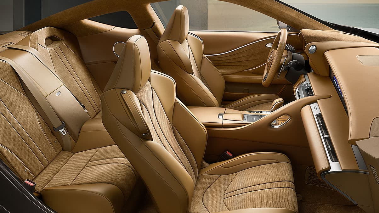 Interior of the Lexus LC 500 shown with Toasted Caramel leather interior trim.