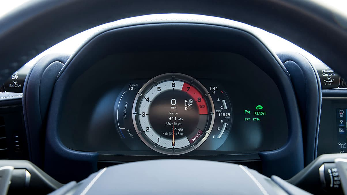 Interior detail shot of the LC 500h featuring the LFA-inspired instrumentation.
