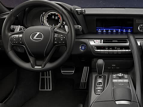 Interior shot of the Lexus LC 500h showing the driver-inspired cockpit.