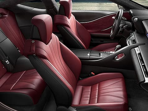 Lexus LC 500h shown with Rioja Red leather interior trim.