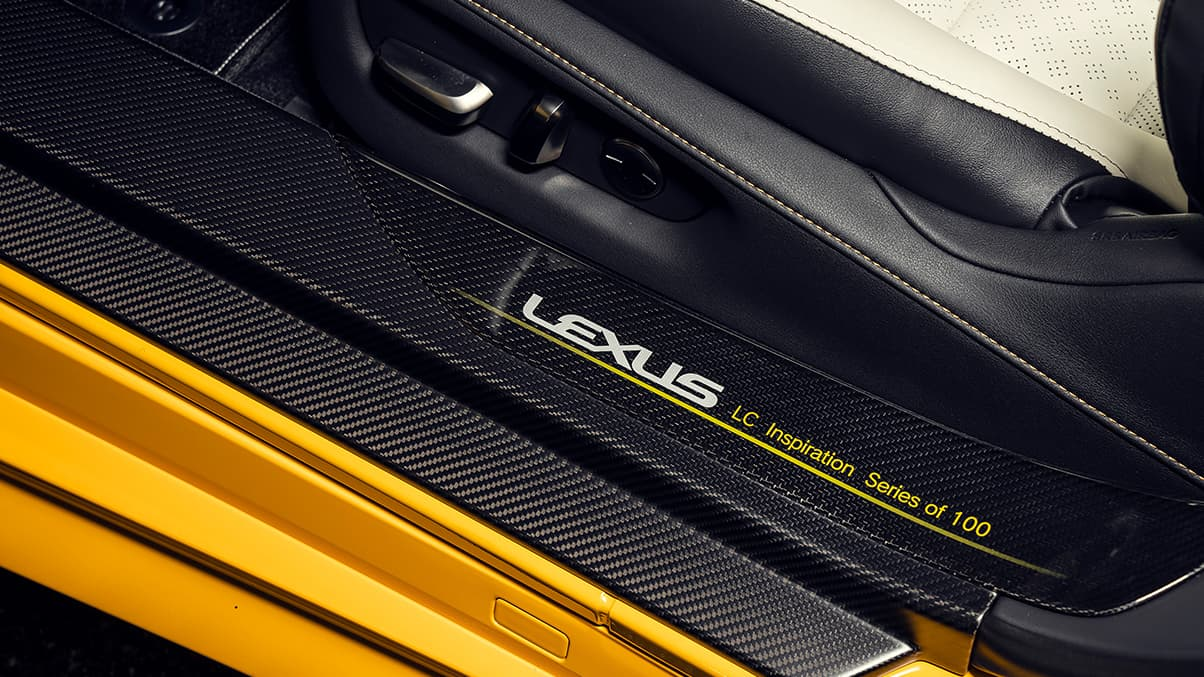 2019 LC Inspiration Series shown in Flare Yellow featuring the carbon fiber door scuff plates.