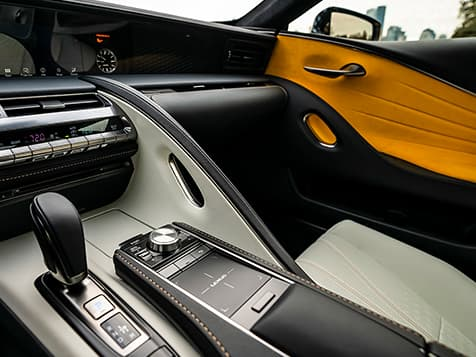 2019 LC Inspiration Series shown with Bespoke Yellow Alcantara door inserts.