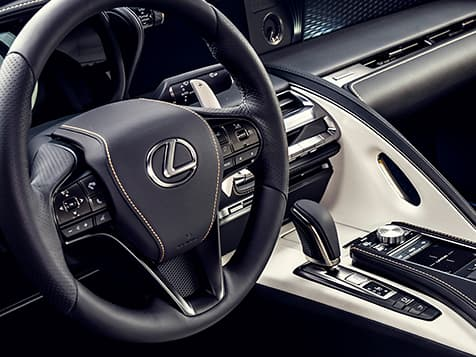 Interior of the 2019 LC Inspiration Series showing the driver-inspired cockpit.