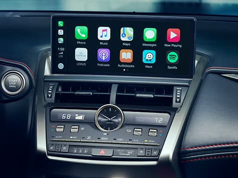 Interior of Lexus NX F SPORT showing Apple CarPlay on the Multimedia Display.