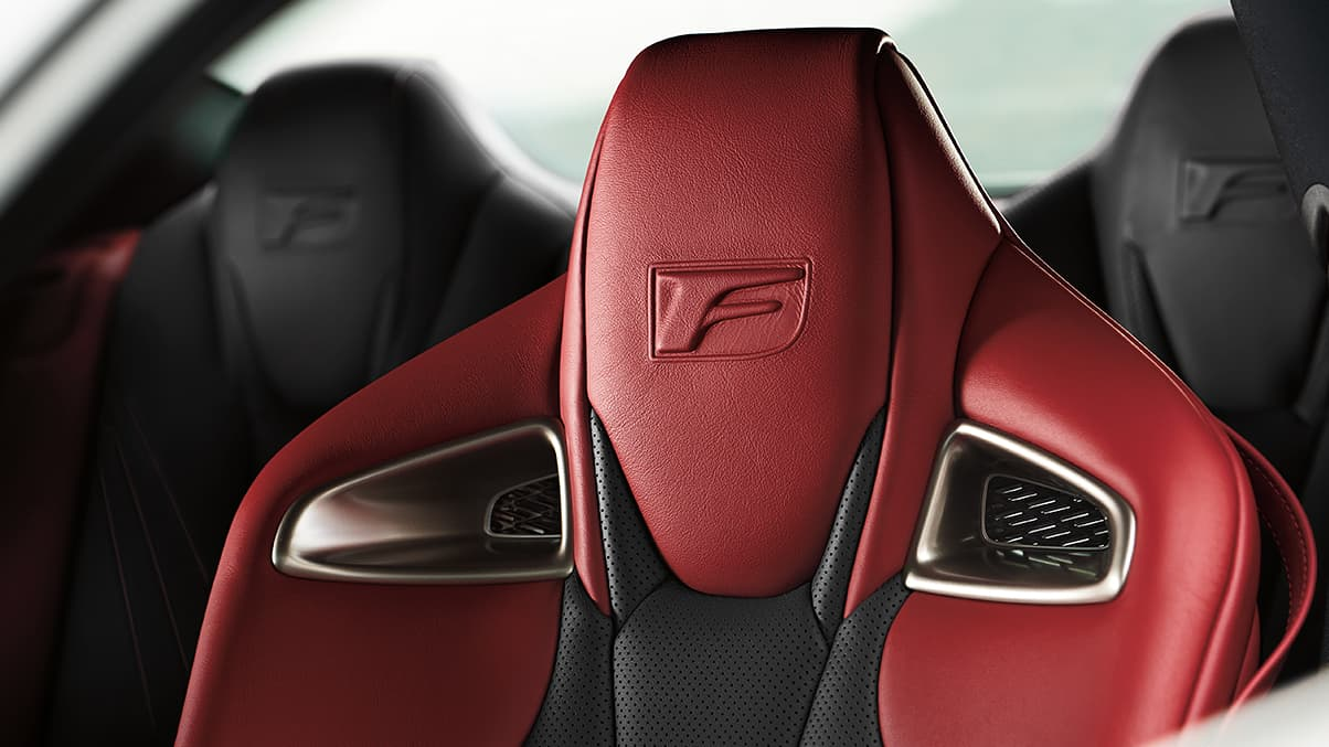 Interior of 2020 RC F showing Circuit Red and Black leather interior trim on seats.