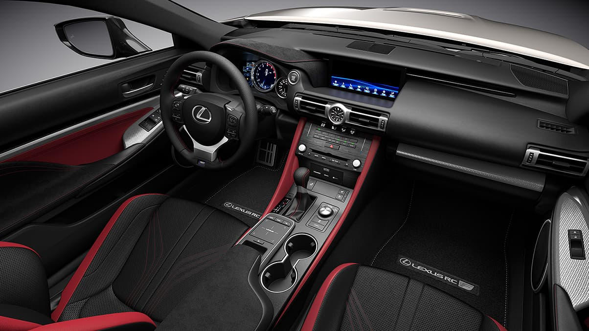 2020 RC F shown with Circuit Red and Black leather and Silver Fiber trim.