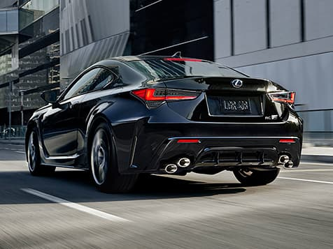 Rear view of the 2020 RC F shown in Caviar.