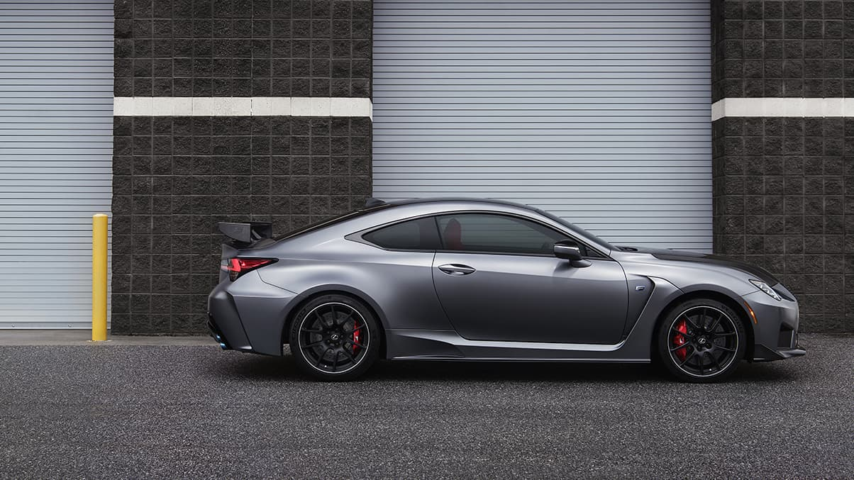 Side view of the 2020 RC F Track Edition shown in available Matte Nebula Gray.